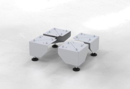 4 Standfüße zur Montage am Gestell der apra-lean Produkte