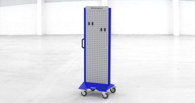 W1-Werkzeuginsel Standardkonfiguration blau mit Rasterblech und Werkzeughaken