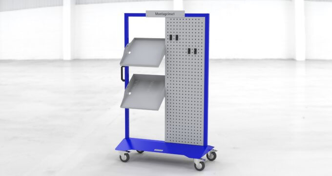 W2 Montageinsel blau Standardkonfiguration mit B1-Modulen Rasterblech und Fachböden